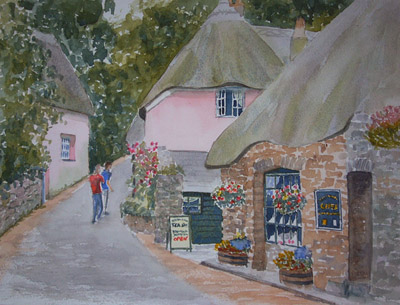 Watercolor Paintings Of The Village Of Cockington Devon